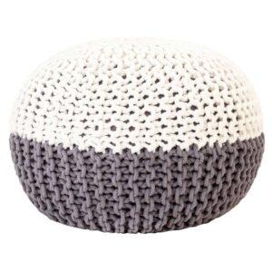 Pufe tricotado à mão 50x35 cm algodão antracite e branco - PORTES GRÁTIS