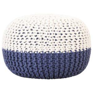 Pufe tricotado à mão 50x35 cm algodão azul e branco - PORTES GRÁTIS