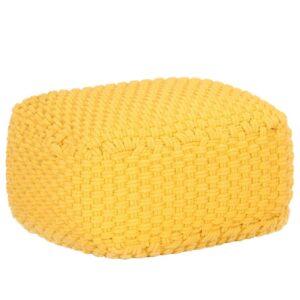 Pufe tricotado à mão 50x50x30 cm algodão amarelo mostarda - PORTES GRÁTIS