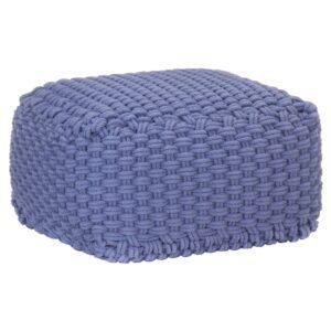 Pufe tricotado à mão 50x50x30 cm algodão azul - PORTES GRÁTIS