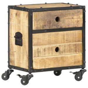 Mesa de cabeceira 40x30x50 cm madeira de mangueira áspera - PORTES GRÁTIS