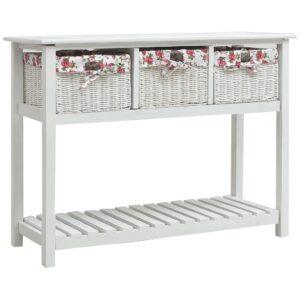 Mesa consola com três cestos madeira branco - PORTES GRÁTIS
