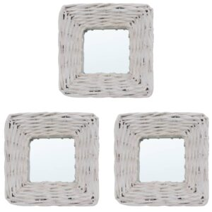 Espelhos 3 pcs 15x15 cm vime branco - PORTES GRÁTIS