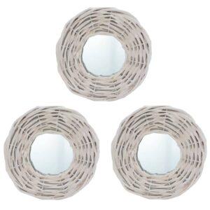 Espelhos 3 pcs 15 cm vime branco - PORTES GRÁTIS