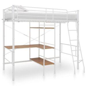 Beliche com secretária 90x200 cm metal branco - PORTES GRÁTIS