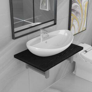 Conjunto de móveis de casa banho 2 peças cerâmica preto - PORTES GRÁTIS