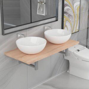 Conjunto de móveis de casa banho 3 peças cerâmica cor carvalho - PORTES GRÁTIS