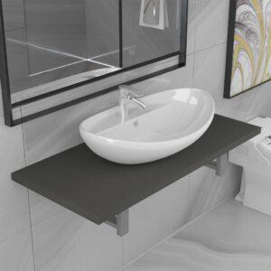 Conjunto de móveis de casa banho 2 peças cerâmica cinzento - PORTES GRÁTIS