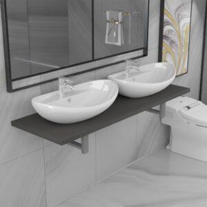 Conjunto de móveis de casa banho 3 peças cerâmica cinzento - PORTES GRÁTIS