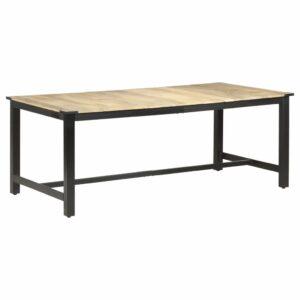 Mesa de jantar 200x100x76 cm madeira de mangueira maciça áspera - PORTES GRÁTIS