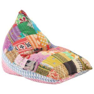 Sofá/pufe retalhos de tecido multicolor - PORTES GRÁTIS