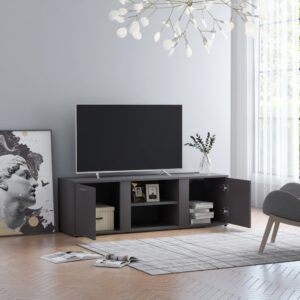 Móvel de TV 120x34x37 cm contraplacado cinzento - PORTES GRÁTIS