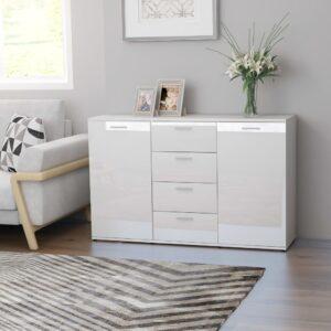 Aparador 120x35,5x75 cm contraplacado branco brilhante - PORTES GRÁTIS