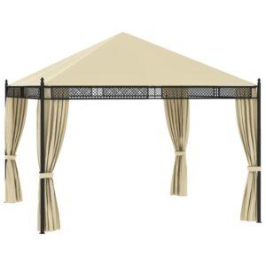 Gazebo com cortinas 3,5x3,5x3,1m 140g/m² vime PE creme - PORTES GRÁTIS