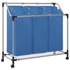 Separador de roupa suja com 3 sacos aço azul - PORTES GRÁTIS