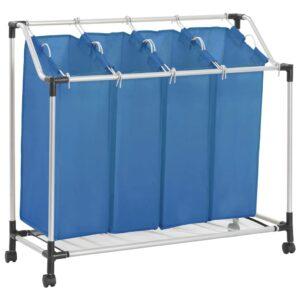 Separador de Roupa Suja com 4 Sacos Aço Azul - PORTES GRÁTIS