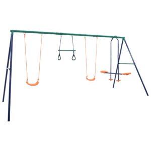Conjunto de baloiços com argolas de ginástica e 4 assentos aço - PORTES GRÁTIS