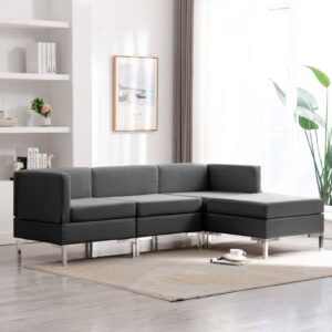 4 pcs conjunto de sofás tecido cinzento-escuro - PORTES GRÁTIS