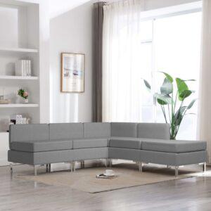 5 pcs conjunto de sofás tecido cinzento-claro - PORTES GRÁTIS
