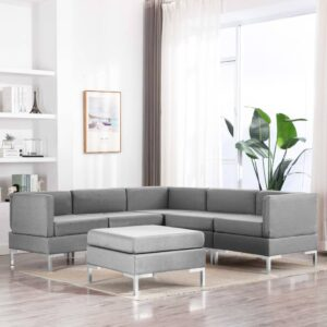 6 pcs conjunto de sofás tecido cinzento-claro - PORTES GRÁTIS