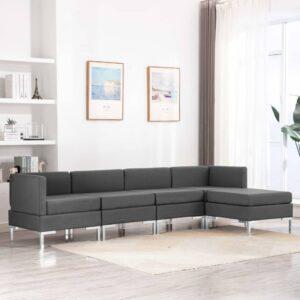 5 pcs conjunto de sofás tecido cinzento-escuro - PORTES GRÁTIS