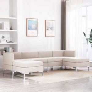 6 pcs conjunto de sofás tecido cor creme - PORTES GRÁTIS