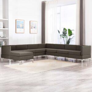 8 pcs conjunto de sofás tecido cinzento-acastanhado - PORTES GRÁTIS