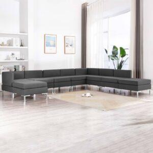 9 pcs conjunto de sofás tecido cinzento-escuro - PORTES GRÁTIS