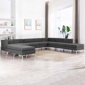 10 pcs conjunto de sofás tecido cinzento-escuro - PORTES GRÁTIS
