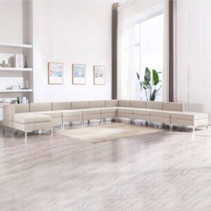 11 pcs conjunto de sofás tecido cor creme - PORTES GRÁTIS