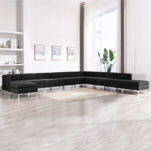 11 pcs conjunto de sofás tecido preto - PORTES GRÁTIS