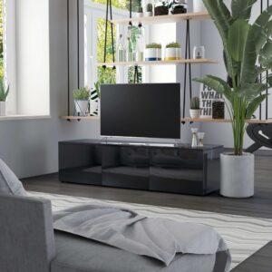 Móvel de TV 120x34x30 cm contraplacado preto brilhante - PORTES GRÁTIS