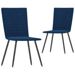 Cadeiras de jantar 2 pcs veludo azul - PORTES GRÁTIS