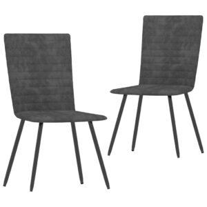 Cadeiras de jantar 2 pcs veludo cinzento - PORTES GRÁTIS
