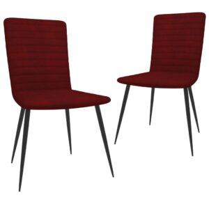 Cadeiras de jantar 2 pcs veludo vermelho tinto - PORTES GRÁTIS