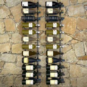 Garrafeiras de parede para 48 garrafas 2 pcs ferro preto  - PORTES GRÁTIS