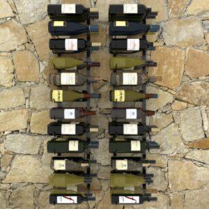 Garrafeiras de parede para 72 garrafas 2 pcs ferro preto  - PORTES GRÁTIS