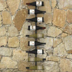 Garrafeira de parede para 9 garrafas ferro preto - PORTES GRÁTIS