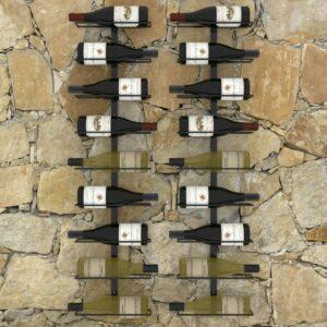 Garrafeiras de parede para 18 garrafas 2 pcs ferro preto  - PORTES GRÁTIS