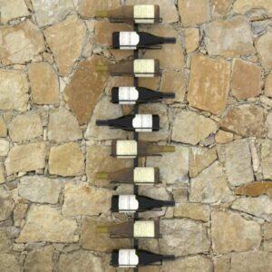 Garrafeira de parede para 10 garrafas metal preto - PORTES GRÁTIS