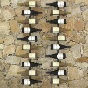Garrafeiras de parede para 20 garrafas 2 pcs metal preto - PORTES GRÁTIS