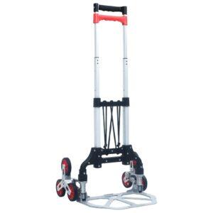 Carrinho transporte escadas dobrável 70 kg alumínio prateado - PORTES GRÁTIS