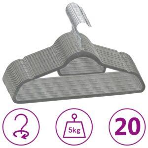 20 pcs conjunto de cabides antiderrapantes veludo cinzento - PORTES GRÁTIS