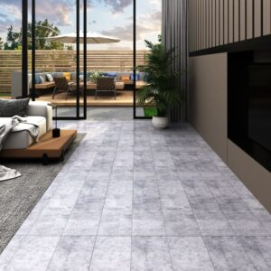 Tábuas de soalho PVC 5,26 m² 2 mm cinzento cimento  - PORTES GRÁTIS