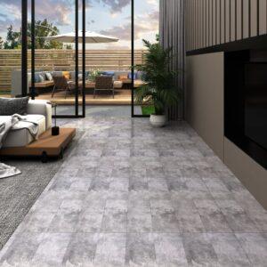 Tábuas de soalho PVC 5,26 m² 2 mm castanho cimento - PORTES GRÁTIS
