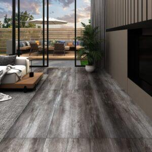 Tábuas de soalho PVC 5,26 m² 2 mm madeira às riscas - PORTES GRÁTIS