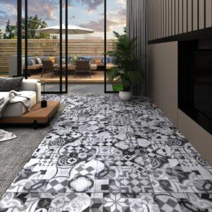 Tábuas de soalho PVC autoadesivo 4,46 m² 3 mm padrão cinzento - PORTES GRÁTIS