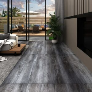 Tábuas de soalho PVC 4,46 m² 3 mm cinzento lustroso - PORTES GRÁTIS