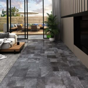 Tábua de soalho PVC 5,11 m² autoadesiva estrutura madeira cinza - PORTES GRÁTIS