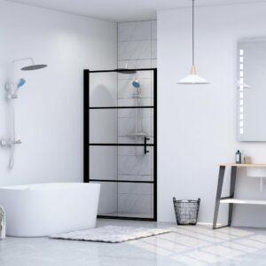 Porta de chuveiro vidro temperado 100x178 cm preto - PORTES GRÁTIS